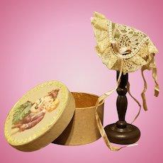 "Lacey Huret Style Fanchon Bonnet for Small Fashion, 4.5-5.5"" Head ~ Artist-Made, Cherie's Petite Boutique"
