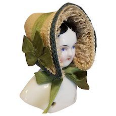 """Early Style Straw Bonnet , 4.5-5"""" Head ~ Artist-Made, Cherie's Petite Boutique"""