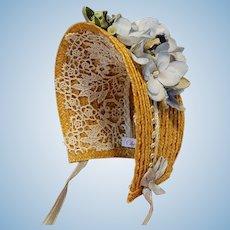 "Straw Spoon Bonnet for 5-5.5"" Doll Head ~ Artist-Made, Avant-Garde, Cherie's Petite Boutique"