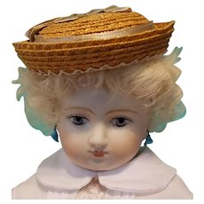 "Huret Style Boater Bonnet for 6-6.5"" Doll Head ~ Artist-Made, Avant-Garde, Cherie's Petite Boutique"