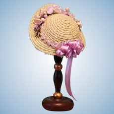 "Straw Bonnet & Hatstand for 5-5.5"" Doll Head ~ Artist-Made, Avant-Garde, Cherie's Petite Boutique"