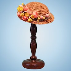 "Straw Boater Hat & Hatstand for 5-5.5"" Doll Head ~ Artist-Made, Avant-Garde, Cherie's Petite Boutique"