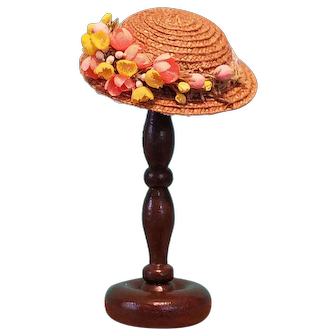 """Straw Boater Hat & Hatstand for 5-5.5"""" Doll Head ~ Artist-Made, Avant-Garde, Cherie's Petite Boutique"""