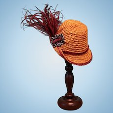 "Straw Bonnet and Hatstand for 5-5.5"" Doll Head ~ Artist-Made, Avant-Garde!"