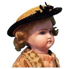 """Straw Bonnet for 6-7.5"""" Doll Head ~ Artist-Made, Avant-Garde!"""