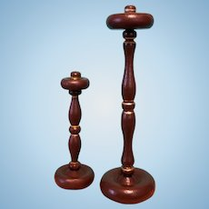 Two Wooden Hat Stands for Doll Bonnet Display