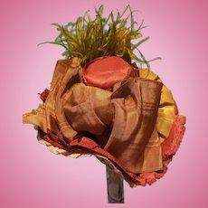 "Silk Taffeta Bonnet for French Fashion or Bebe, 6-7.5"" Head ~ Artist-Made, Cherie's Petite Boutique"