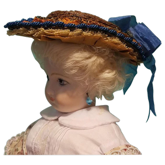 "Straw Civil War Style Bonnet for 6.5-7.5"" Doll Head ~ Artist-Made, Avant-Garde, Cherie's Petite Boutique"