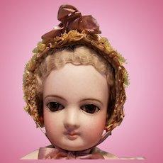 """Silk & Lace Bebe Bonnet for 6-7"""" Head ~ Artist-Made, Cherie's Petite Boutique"""
