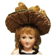 "Silk Taffeta Bonnet for French Fashion or Bebe, 5-6"" Head ~ Artist-Made, Cherie's Petite Boutique"