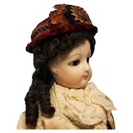 "Antique Velvet Civil War Style Bonnet for French Fashion,  7-8"" Head ~ Artist-Made, Cherie's Petite Boutique"