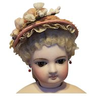 "Lovely Spring Bonnet for French Fashion or Bebe, 7-8"" Head ~ Artist-Made, Cherie's Petite Boutique"