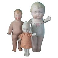 Three All-Bisque Immobile Dolls