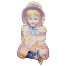 Bisque Girl Figurine with Doll