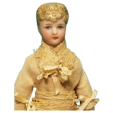 Gorgeous Bisque head Dollhouse Lady with Bun and Lace Dress
