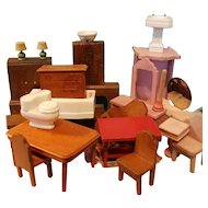 Large Lot of Mostly Strombecker Wooden Dollhouse Furniture