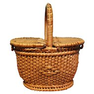 Antique Miniature French Wicker Picnic Basket for Dolls