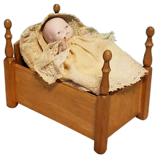 Darling Pink Bisque German Baby in Wooden Bed/Crib