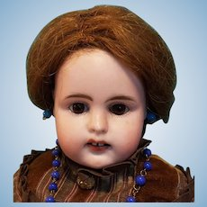 "Antique German Bisque Head Lady Doll, Gorgeous Dress!  14"""