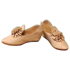 Tiny Leather Heeled Slippers for French Fashion