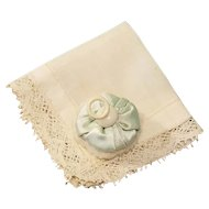 Antique Handkerchief & Powder Puff for French Fashion