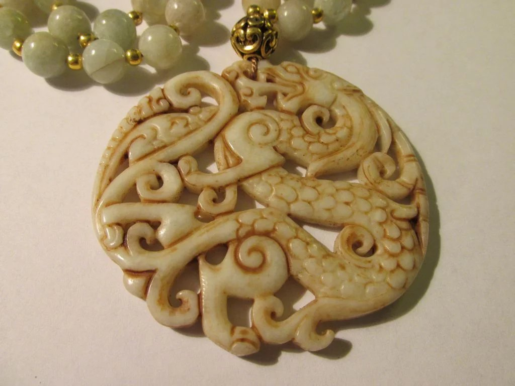 Chinese Dragon And Rat Carved Jade Pendant With Gemstone