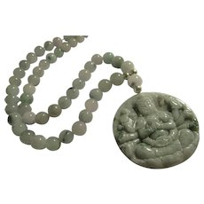 Chinese Jade Kwan Yin Pendant with Jade Bead Necklace, 20""