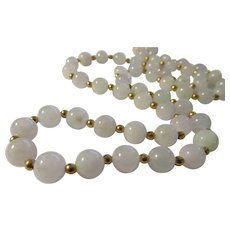 Lavender-Grey Jade Bead Necklace with 14KGF Spacer Beads 26""