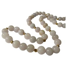 Lavender Jade Bead Necklace, 20""