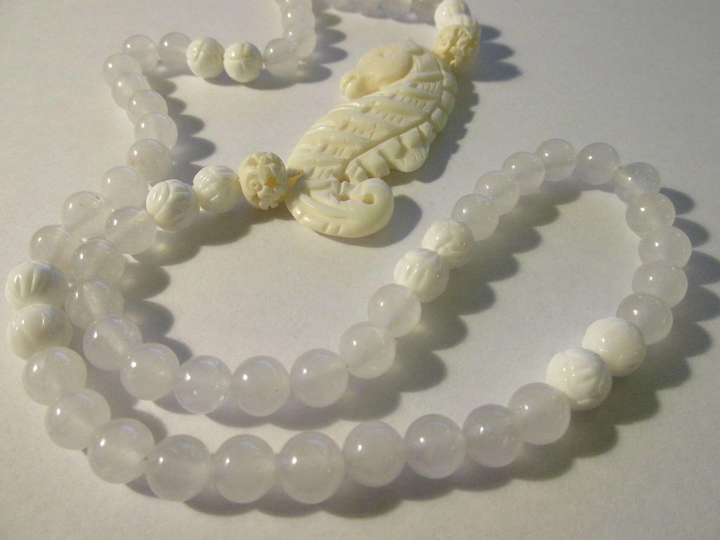 Carved Bone Seahorse Side Pendant With White Jade And Seashell Bead Eurasian Collectibles Ruby Lane