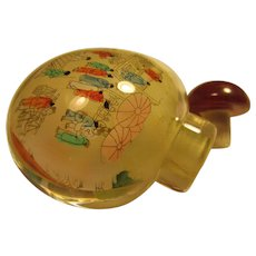 Glass Snuff Bottle of Chinese Village People Going to the Market - Red Tag Sale Item