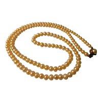 "Vintage-Estate Luminous White 5mm Pearl Necklace, 30"""
