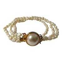 """Vintage Triple Strand Pure White Fresh Water Rice Pearl Bracelet with Pinch Pearl Clasp, 7 1/2"""""""