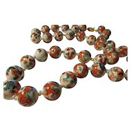 """Vintage Chinese White Porcelain Bead Necklace with Hand Painted Green and Crimson Dragons, 26"""""""