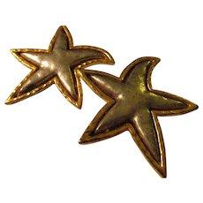 Vintage EDOUARD RAMBAUD of Paris, Flambouant Gold-Silver Metallic Star Clip Style Earrings - Red Tag Sale Item