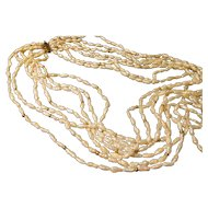 """White Fresh Water Rice Pearl, Graduated 6-Strand Necklace with 14K Clasp, 26"""""""