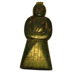 Chinese Dark Green Carved Jade Figurine Collectible of Terra Cotta Warrior