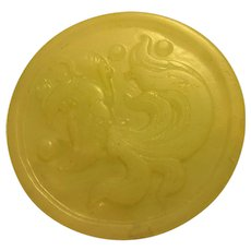 Chinese Caved White Jade Belt Buckle with Mythical Phoenix Bird Motif