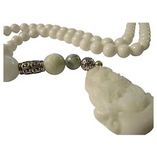 "White Chinese Jade Pendant with White Tridacna Seashell and Jade Bead Necklace, 20"""