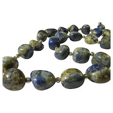 Natural Blue-and-White Sodalite Gemstone Nugget Bead Necklace, 22""