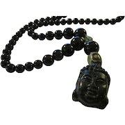 "Jet Black Buddha Charm-Pendant with Black Agate Bead Necklace, 22"""