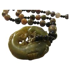 """Chinese Dark Green Jade Dragon Fish Pendant with Multi-Colored Indian Agate Bead Necklace, 23"""""""