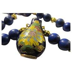 "Cobalt Blue Enamel Cloisonne Floral Urn Charm-Pendant with Blue Gemstone Bead Necklace, 22"""