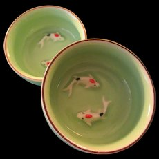 Japanese Mint Green Ceramic Sauce Dish with Koi-Carp Motif, Set of 2