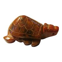 Dragon Turtle Carved Brown Jade Figurine-Collectible,