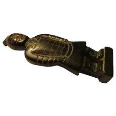 "Carved Black Jade Figurine of Ancient Chinese Terra Cotta Warrior, 4 1/4"""