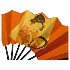 Ukiyo-E Print Folding Fan of Japanese Woman Gazing in Mirror
