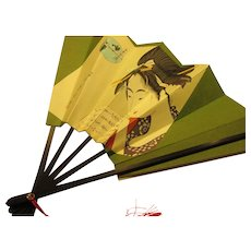 Japanese Decorative Folding Fan of Ukiyo-E Print of Bijin Woman