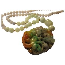 """Double Dragon Tri-Color Jade Pendant with Lavender and Green Jade Bead Necklace, 24"""""""