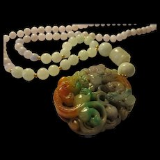 Double Dragon Tri-Color Jade Pendant with Lavender and Green Jade Bead Necklace, 24""